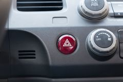 Hazard Warning Light Button with triangle. Vehicle emergency stop, hazard light warning button stock photography