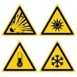 Hazards signs set  vector illustration