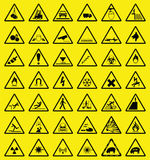 Hazard warning sign. Collection all signs individually layered Stock Illustration