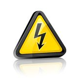 Hazard warning sign with high voltage symbol. Three-dimensional Hazard warning sign with high voltage symbol on a white background with reflection Stock Image