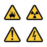 Hazard warning sign icon set on white background Flat design. Illustration Stock Image
