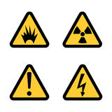 Hazard warning sign icon set on white background Flat design Vector. Illustration Royalty Free Stock Image