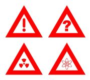 Hazard warning signs. Traiangular red hazard warning signs isolated on white background Royalty Free Stock Photo