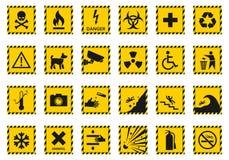 Hazard warning signs, caution icons Stock Photo