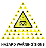 Hazard Warning Signs. Make your own hazard warning sign with main central sign and forty related hazard warning graphics  on white background Royalty Free Stock Photography