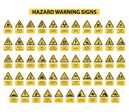 Hazard warning signs. Set of hazard warning signs on white background vector illustration