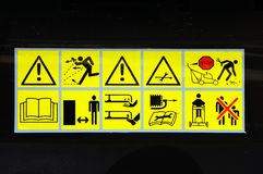 Hazard warning symbols. Stock Photos
