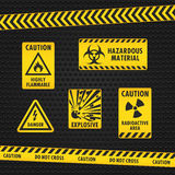 Hazard Warning Tape and Labels Royalty Free Stock Image
