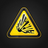 Hazard warning triangle explosive sign Stock Photo
