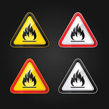Hazard warning triangle highly flammable warning set sign Royalty Free Stock Photos