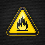 Hazard warning triangle highly flammable warning sign Royalty Free Stock Photos