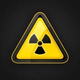 Hazard warning triangle radioactive sign on a metal surface Stock Photos