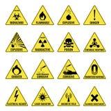 Hazard warning triangual yellow icon set on white Stock Photo