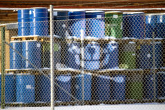Hazard waste. Barrels with containing hazard waste marked with a scull stock photos