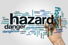 Hazard word cloud. Concept on grey background stock photos