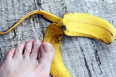 Hazardous banana peel Stock Photos