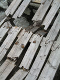 Hazardous Broken Planks. Broken planks royalty free stock images