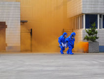 Hazardous chemicals leakage emergency drills. Pay attention to the emergency handling of special hazardous chemical substances royalty free stock photo