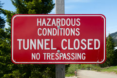 Hazardous Conditions Sign Stock Photo