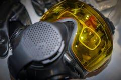 Hazardous environment gas mask with safety glass. Afraid apparatus army biohazard black breathe chemical concept danger defense destruction equipment face fear royalty free stock photo