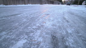 Hazardous Icy Road 4K UHD. A hazardous icy, slippery road. 4K. UHD stock footage