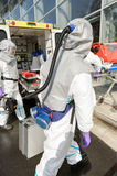 Hazardous material medical team with equipment Stock Images