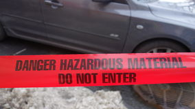 Hazardous Material. Red tape with the message Danger Hazardous Material Do not enter Royalty Free Stock Photos