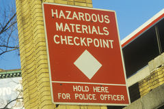 A hazardous materials checkpoint sign Royalty Free Stock Images