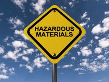 Hazardous materials sign. A close up of a yellow hazardous materials sign and sky in the background Royalty Free Stock Images
