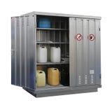 Hazardous materials storage. Storage of hazardous and combustible materials locker isolated stock photos