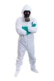 Hazardous materials worker. Man in biohazard suit on a white background Stock Photo