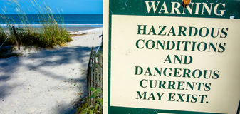 Hazardous rip currents warning sign on hunting island nc Royalty Free Stock Photography