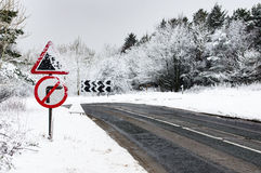 Snow - Hazardous road conditions - Winter Roads - Warning Signs Stock Images