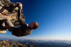 Hazardous rock climbing royalty free stock photos