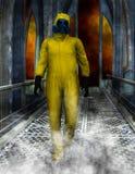 Hazardous Toxic Waste, HAZMAT SUIT Illustration. Illustration of a worker for hazardous or toxic waste. The man is wearing a HAZMAT suit. Scene has science Royalty Free Stock Photos