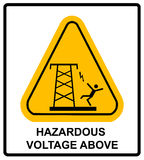 Hazardous voltage above. Vector warning banner Stock Images