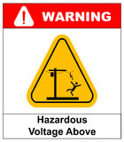 Hazardous voltage above. Vector warning banner Stock Photos