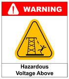 Hazardous voltage above. Vector warning banner Stock Photo