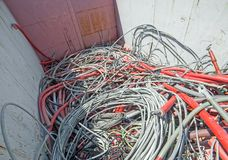 Hazardous waste landfill full of electrical wires Stock Photography