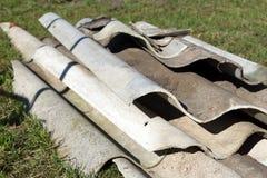 Hazardous waste. Many asbestos in a pile royalty free stock photos