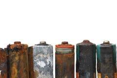 Hazardous waste. Old battery leak / hazardous waste concept stock photo