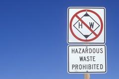 A hazardous waste sign. In Santa Barbara, California royalty free stock image