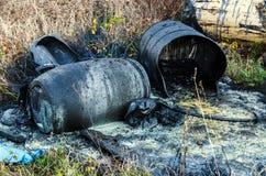Free Hazardous Waste. Spillage Of Toxic Waste In Nature Stock Photography - 167292152