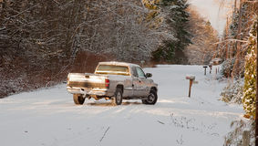Hazardous Winter Driving Royalty Free Stock Photos