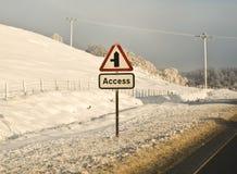 Hazardous winter road conditions Stock Photo