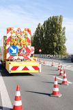 Hazards at roadworks Royalty Free Stock Images