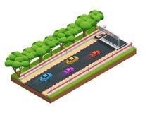 Hazardu żużlu Isometric skład ilustracji