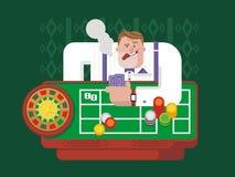 Hazardzista bawić się ruletę ilustracji