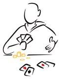 Hazardzista z kartami ilustracji