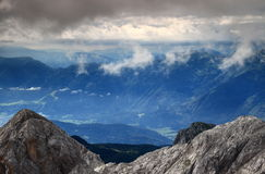 Haze and clouds over Bohinj Valley, Bohinj Group, Julian Alps. Haze and clouds over Bohinj Valley, Bohinj Range, Julian Alps, Slovenian Prealps in the background Royalty Free Stock Images